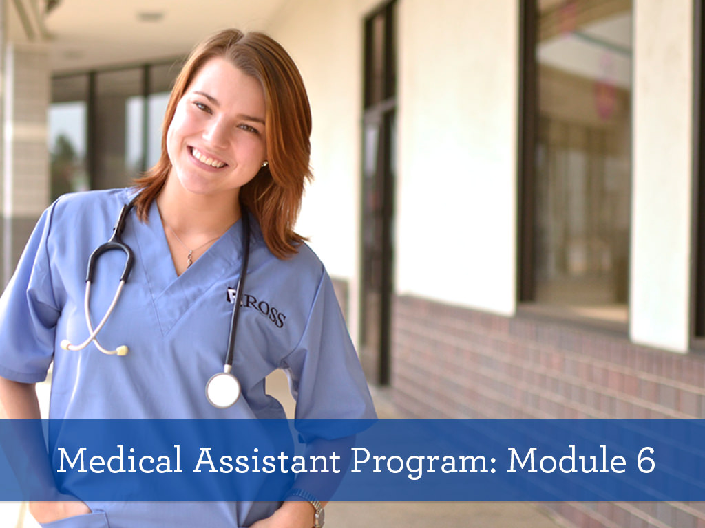 Ross Medical Education Center Medical Assistant Program Module 6 Student with Stethoscope