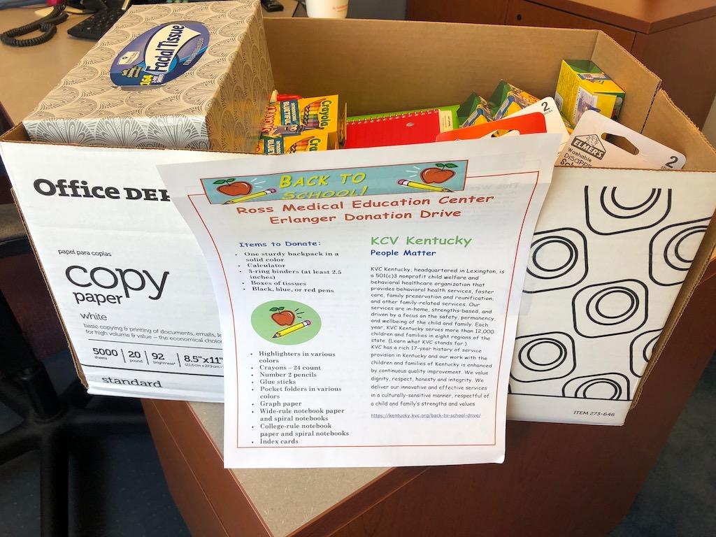 Ross Medical in Erlanger Collects School Supplies for KVC Kentucky